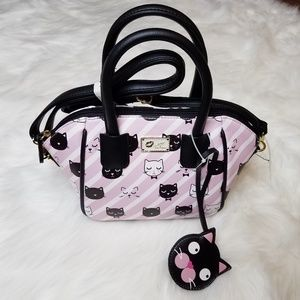 NEW Betsey Johnson Kitsch Kitty Satchel Cat Purse